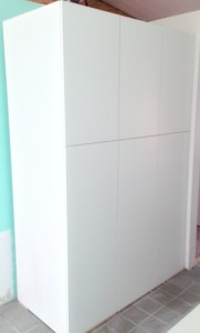 Matte white, cabinets, pantry, tall cabinets, ultra craft, Seneca cabinets, melamine cabinets,